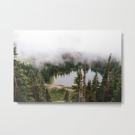 Fogged in lake Metal Print