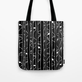 Into the Woods white on black Tote Bag