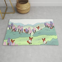 Lavender field with little fox Rug