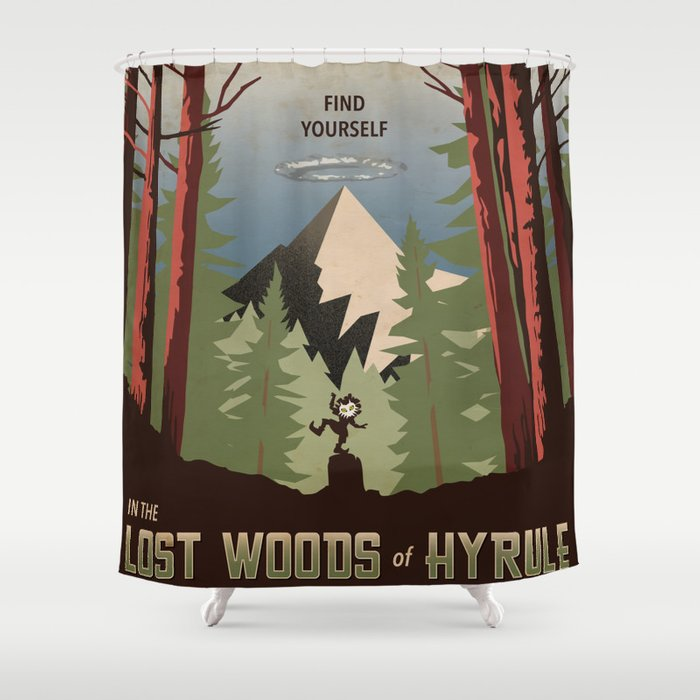 Legend Of Zelda Find Yourself In The Lost Woods Shower Curtain By Theretrovideogamers