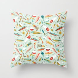 Fishing Lures Light Blue Throw Pillow