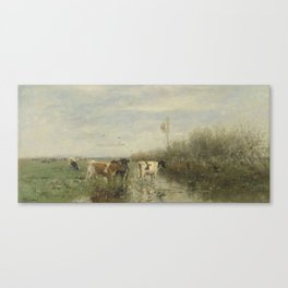 Cows in a Soggy Meadow, Willem Maris, 1860 - 1900 Canvas Print