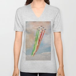 Frecce Tricolori in action Unisex V-Neck
