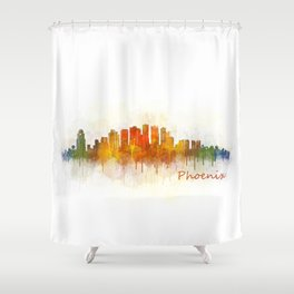 Phoenix Arizona, City Skyline Cityscape Hq v3 Shower Curtain