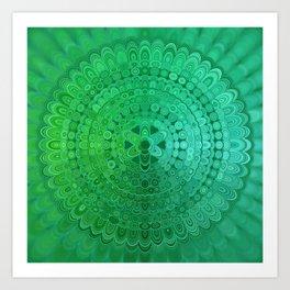 Green Mandala Circle Art Print