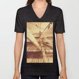 Vintage Nautical Sailing Typography in Sepia Unisex V-Neck