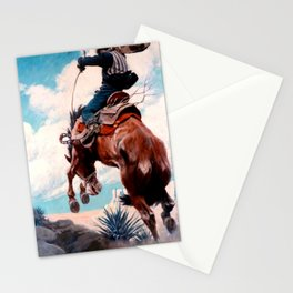"""Vintage Western Painting """"Bucking"""" by N C Wyeth Stationery Cards"""