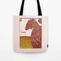smaug Tote Bags featuring Smaug and His Treasure by Hinterlund