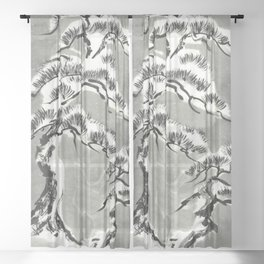 Pine trees under snow sumie ink painting Sheer Curtain