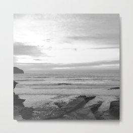 Sunset in Trebarwith Stand, Cornwall, England - Black & White Metal Print