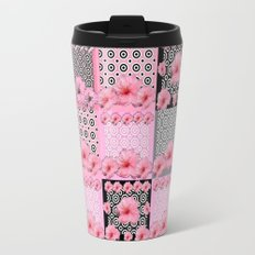 Modern Pink-Black Floral Patterned Art Travel Mug