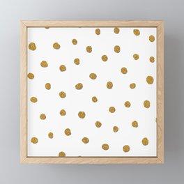 Golden touch II - Gold glitter polka dots Framed Mini Art Print