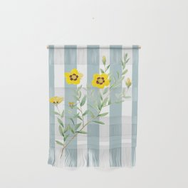 Yellow flowers on blue stripes Wall Hanging