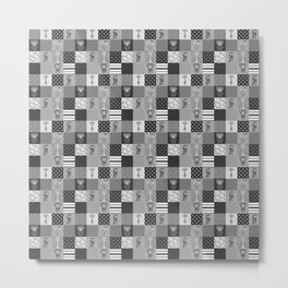 Jungle Friends Shades of Grey Cheater Quilt Metal Print