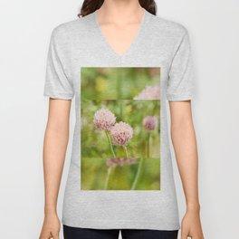 Pink chives flowering plant Unisex V-Neck