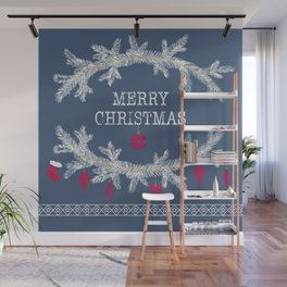 Merry christmas and happy new year greeting card wreath background Wall Mural
