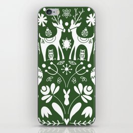 Holiday Folk art in green and white iPhone Skin