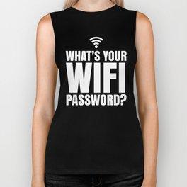 What's Your WiFi Password? (Black & White) Biker Tank