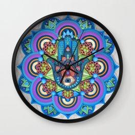 Hamsa Mandala Wall Clock