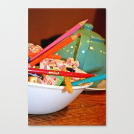 Teapot, Colored Pencils and Taffy 2 Canvas Print