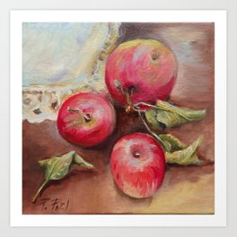 RED APPLES on the table Classic Still life Painting Art Print
