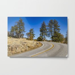 Empty Highway Road Cutting through Pine Trees and Golden Meadow in Lake Cuyamaca Metal Print