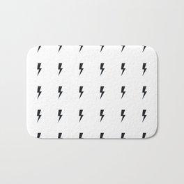 Black Lightning on White Bath Mat