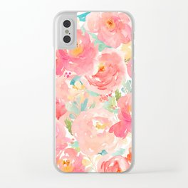Preppy Pink Peonies Clear iPhone Case
