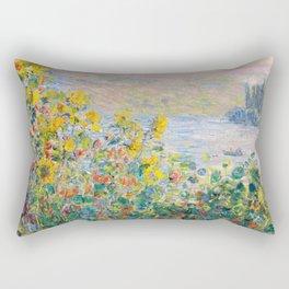 Flower Beds at Vétheuil by Claude Monet 1881 Rectangular Pillow
