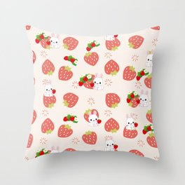Bunnies and Strawberries Throw Pillow