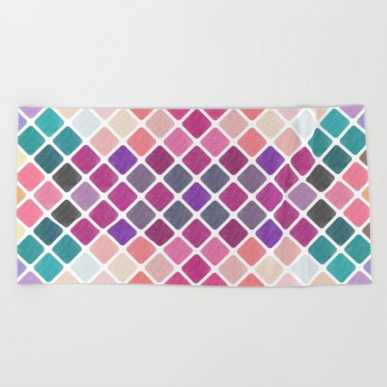 Watercolor Geometric Pattern III Beach Towel