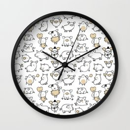 Cute little hand drawn pigs with hats and ballons Wall Clock
