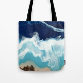 Tsambou, a beach on Samos island, Greece; Resin abstract painting Tote Bag