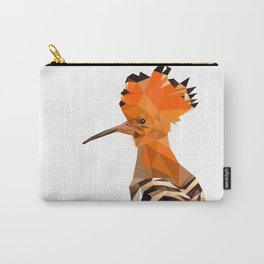 Bird artwork hoopoe geometric, Orange and brown Carry-All Pouch