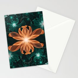 Alluring Turquoise and Orange Tiger Lily Flower Stationery Cards