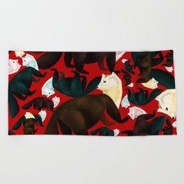Marten tropical pattern Red Beach Towel