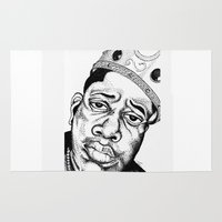 biggie smalls Area & Throw Rugs featuring Biggie Smalls Stippling by Tom Brodie-Browne