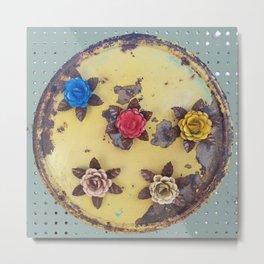 Metal Flowers on Disk, Industrial, Steampunk Roses Metal Print
