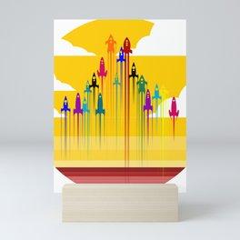 colorful rockets Mini Art Print