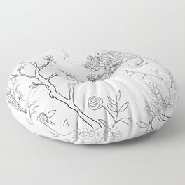 Color Your Own Chinoiserie Panels 1-2 Contour Lines - Casart Scenoiserie Collection Floor Pillow