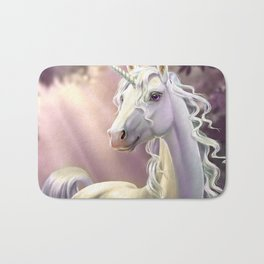 Unicorn in the forest Bath Mat