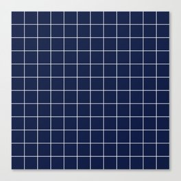Navy Blue Grid Canvas Print