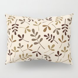 Assorted Leaf Silhouettes Gold Browns Cream Ptn Pillow Sham
