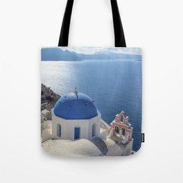 Santorini island in Greece Tote Bag