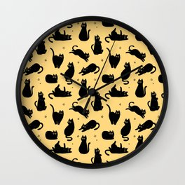 black cat pattern Wall Clock