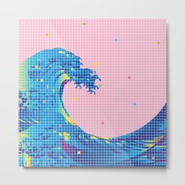 Great Wave in checked pattern_D Metal Print
