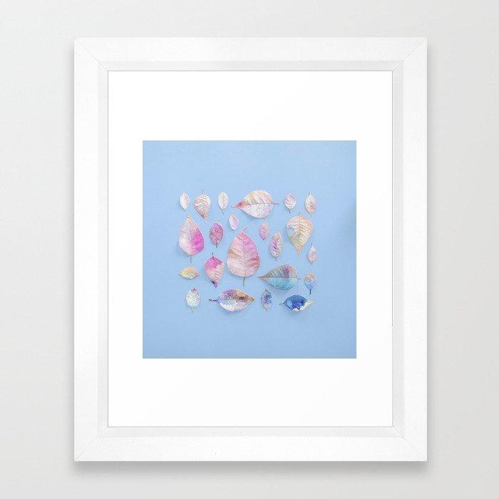 Water Colour Leaves Framed Art Print