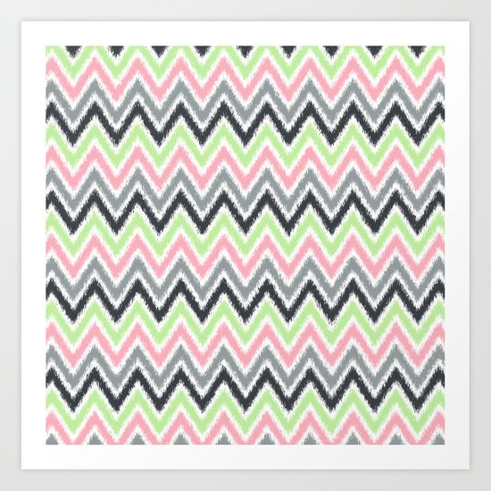 Lime Pink Gray Zigzags Art Print