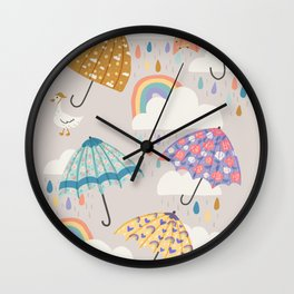 Rainbow Spring Showers Wall Clock