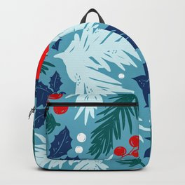 Christmas Tree With Bird and Holly Pattern Backpack